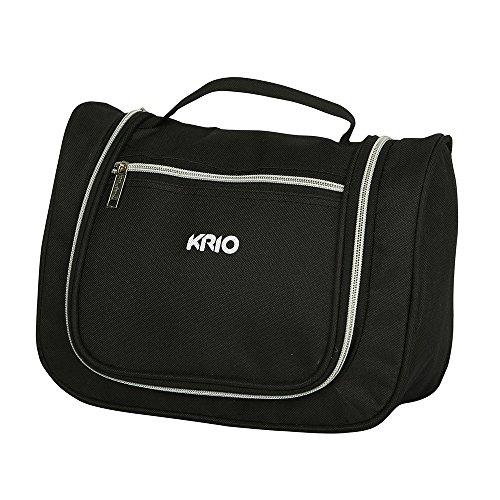 KRIO Designs BLACK Travel Toiletry Makeup Bag Organizer