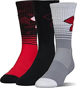 Under Armour Boys Phenom 2.0 Crew (3 Pack) Blue Marker Youth Large Under Armour Socks U386B