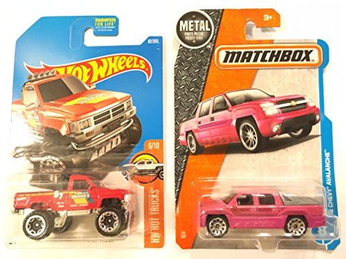 Matchbox 2017 MBX Adventure City '02 Chevy Avalanche 24/125, Pink & Hot Wheels 2017 HW Hot Trucks 1987 Toyota Pickup Truck 82/365, Red