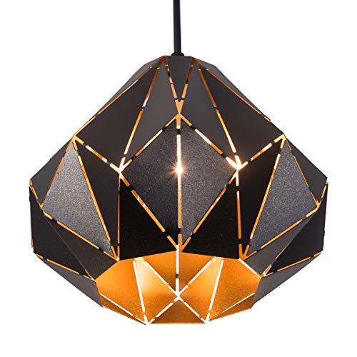 SAISHUO Diamond Geometric Pendant Light Polyhedron Adjustable Chain 1 Light Chandelier for Kitchen Island, Bar, Hallway, Living Room, Dining Room