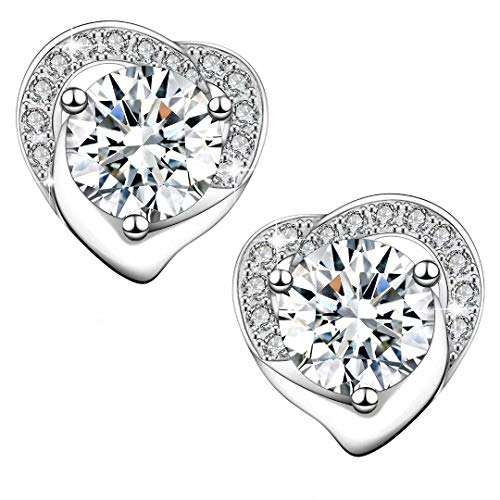 - Elegant Queen 925 Sterling Silver Stud Earrings with Exquisite Gift Box, Silver Cloth Included♥Best for Women Ladies Girls and Lovers or Valentine's Day♥
