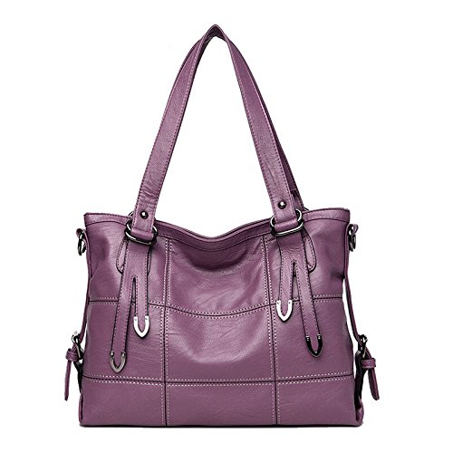 2017 New Fashion Patchwork Women Casual Shoulder Bag High Quality Black Pu Leather original Handbag Vintage Stitching Crossbody Bag sac ( Color Purple)