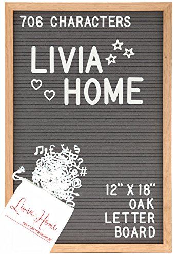 "Display Office Clipboard (Letter Board – Gray Felt Sign with 706 ¾"" and 2"" White Plastic Changeable Characters – Large Wooden 12 x 18 inch Solid Oak Frame – With 7x5 inch Canvas Bag - Vintage Display by Livia Home)"
