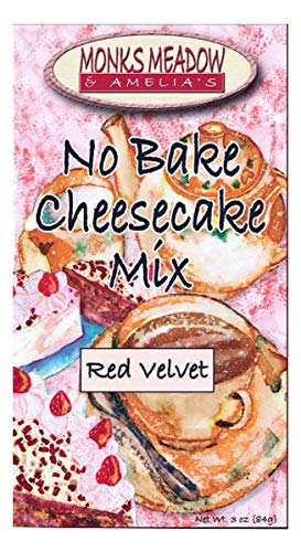 Monks Meadow Red Velvet Cheesecake - No Bake Mix in 5 oz box with easy to make instructions on Box (No Bake Cheesecake, Red Velvet)