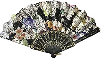 Traditional Chinese Style Rose Brozing Hand Paper Fan Party Supplies For Women Gift Plastic Flower Dance Fans