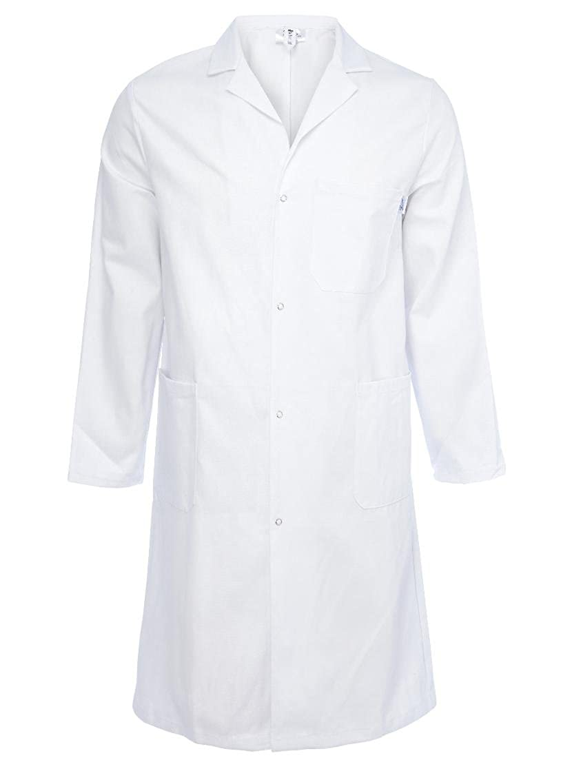 Unisex Lab Work Doctors Medical Coat White Poly Cotton Dust Jacket - Made in England CT02W Yarmo