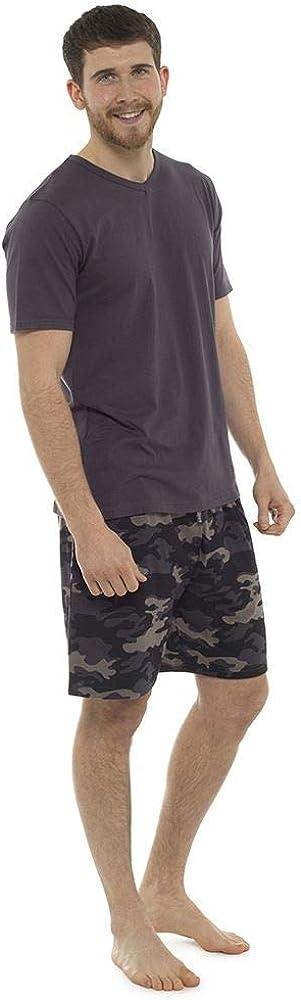 Tom Franks Mens Camo Printed Pajama Set Short Summer Sleepwear