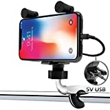 "GoldenHawk Universal Waterproof Motorcycle Cell Phone Mount Holder USB Charger System with 0.5 to 1.25"" Aluminum Handlebar Mounting Clamp, 4.9FT/60 In./1.5M Power Cable for iPhone Samsung Smartphones"