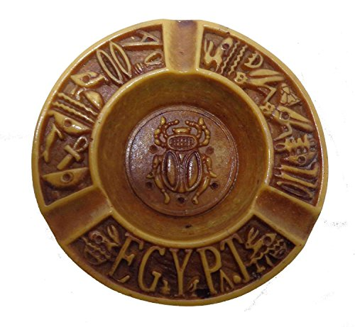 Egyptian Antique Ashtray Plate Pharaoh King TUT Resin Scarab Beetle Ancient Souvenir Hieroglyphics 236 (Model 1)