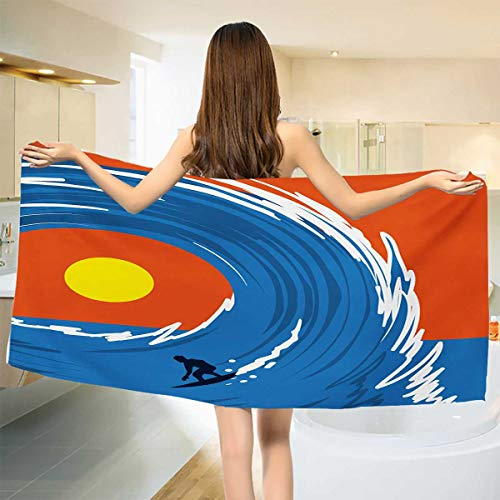 Chaneyhouse Ride The Wave,Bath Towel,Man Surfing in Giant Ocean Waves Retro Artistic Sports Poster Print,Bathroom Towels,Violet Blue Scarlet Size: W 31.5