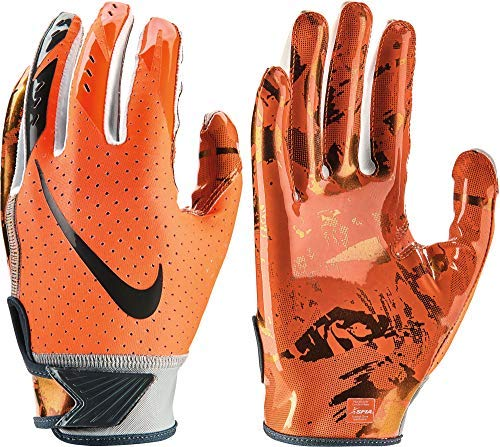 (NIKE Youth Vapor Jet 5.0 Receiver Gloves 2018 (Chrome/Orange, Large))