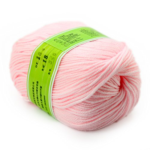 joylve Knitting Yarn Skein Baby Super Smooth Worsted Soft Natural Silk Wool Fiber Water Pink - Yarn Worsted Shine
