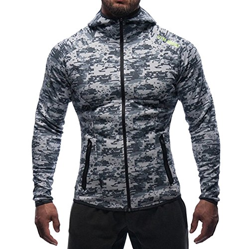 (BROKIG Men's Gym Workout Hoodie Jacket Muscle Fitted Training Bodybuilding Running Active Sweatshirts with Zipper Pockets (Small=(Tag M), Camo))