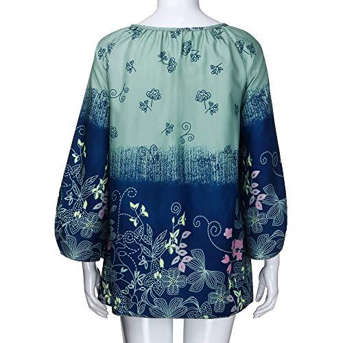 S Vert arme Solike Taille Manches Chemise T Printemps Blouse 5XL Tops Floral Bretelle Loose sans Automne Chic Shirt Grande Casual Longues Impression Bandage Femme Tunique SngRwr1Sxq
