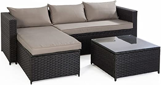 bertozzi Conjunto de salón jardín sofá Chaise Longue Mesa de ratán sintético marrón Adele: Amazon.es: Jardín