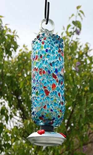 Parasol - FILIGREE ~ SPRINKLES ~ Hummingbird Nectar Feeder - Multicolored - Hand Blown Glass - with Gondola - -