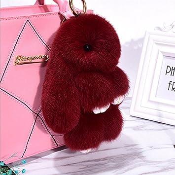 Cute Fur Bunny Fluffy Rabbit Keyring Bag Charm Pendant Handbag Phone  Keychain Red Wine 82f78933f