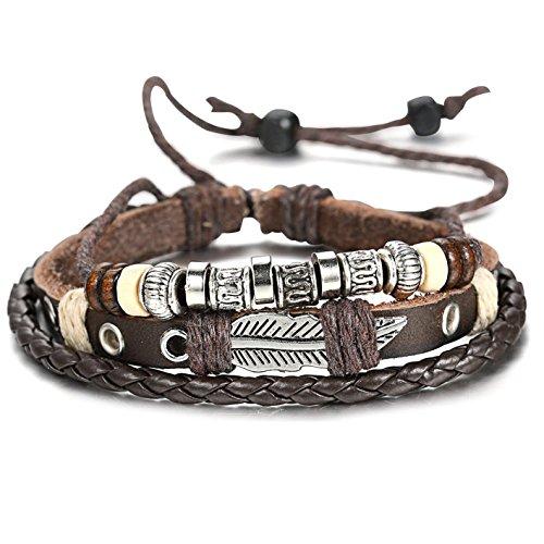 FIBO STEEL Leather Bracelet Adjustable