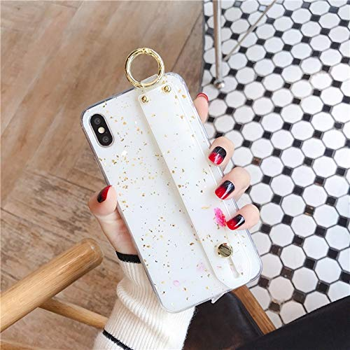 Maxlight Wrist Strap Soft TPU Phone Case for iPhone X Xs max XR Marble Gold Foil Holder Case (Style1, for iPhone Xs Max)