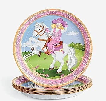 Pink Cowgirl Western Paper Plates (8 PC)  sc 1 st  Amazon.com & Amazon.com: Pink Cowgirl Western Paper Plates (8 PC): Toys \u0026 Games