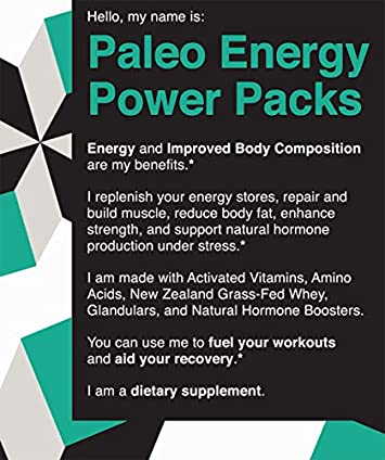 Paleo Energy Power Packs Multivitamin. Keto Pre Workout Supplement w Grass Fed Whey, Glandulars, Probiotics, Vitamins. Burn Fat, Gain Lean Muscle, Boost Energy, Focus, Recovery. Natural Preworkout