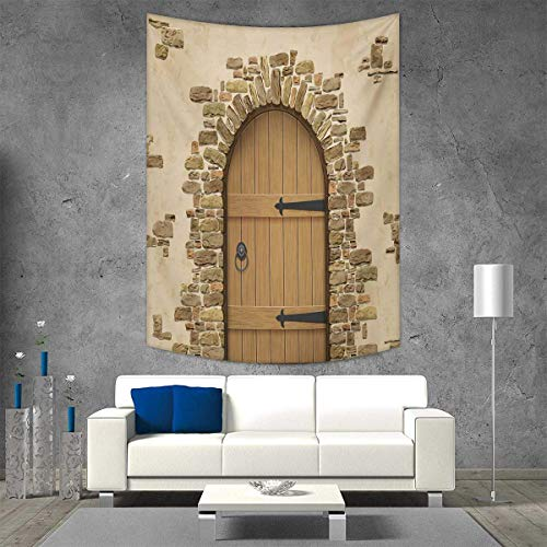 smallbeefly Rustic Beach Throw Blanket Wine Cellar Entrance Stone Arch Ancient Architecture European Building Vertical Version Tapestry 51W x 60L INCH Sand Brown Pale Brown