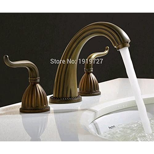 chic HYY@ 100% Brass Antique Bronze Widespread Lavatory Faucets Classic Design 3 Holes Wash Basin Mixer Taps