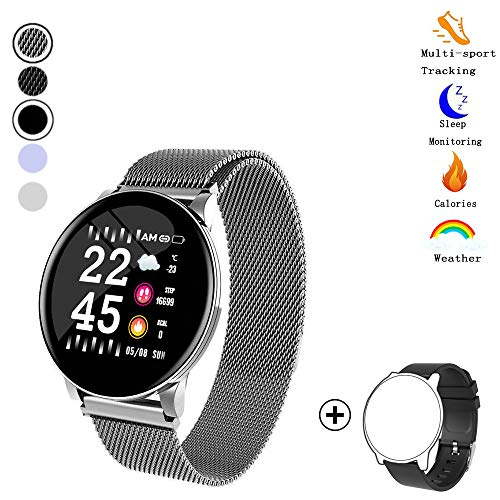 Fitness Tracker,Activity Tracker Watch with Heart Rate Blood Pressure Monitor 1.3' Color Screen Waterproof Smart Pedometer Sleep Monitor Step Calorie Counter for Men Women (Silver+Black)