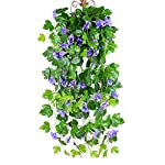 Wcysin-2PCS-Artificial-Vines-Morning-Glory-Hanging-Plants-Silk-Garland-Fake-Green-Plant-Home-Garden-Wall-Fence-Stairway-Outdoor-Wedding-Hanging-Baskets-Decor-Purple