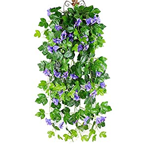 Wcysin 2PCS Artificial Vines, Morning Glory Hanging Plants Silk Garland Fake Green Plant Home Garden Wall Fence Stairway Outdoor Wedding Hanging Baskets Decor (Purple) 120