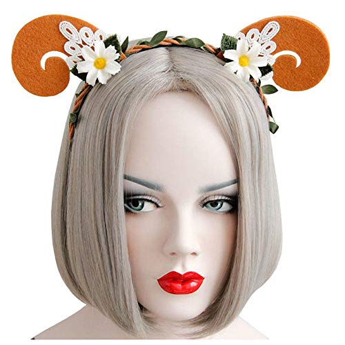 (Lace Goat Horn Ear Gold Girls Hair Band New Head Wrape Womens Girls(Orange) I2Y8)