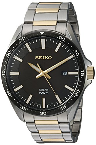 Seiko Men s Sport Watches Japanese-Quartz Stainless-Steel Strap, Silver, 19 Model SNE485