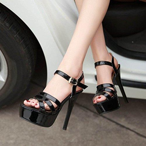 Chfso Kvinners Comfy Ankelen Stropp Spenne Stiletto Patent Skinn Sandaler Sko Svart