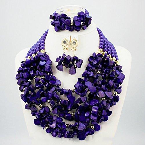 Violet 5couches Chunky complet du Nigeria perles bijoux de mariage rouge africain perles bijoux perles de corail-Collier Femme-Jeux