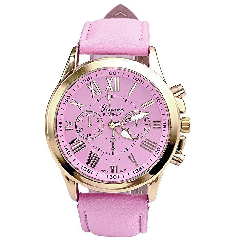 Axiba Genuine Women's Fashion Geneva Roman Numerals Faux Leather Analog Quartz Wrist Watch (Pink)