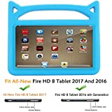 Fire HD 8 Case,Fire 8 Kids Case,Riaour Kids Shock Proof Protective Handle Cover Case for Fire HD 8 Tablet (Compatible with 6th Generation 2016/7th Generation 2017) (Blue 0)