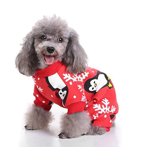 starlit Soft Christmas Costume Puppy Cute Penguin Pattern Xmas Pet Clothes Gift