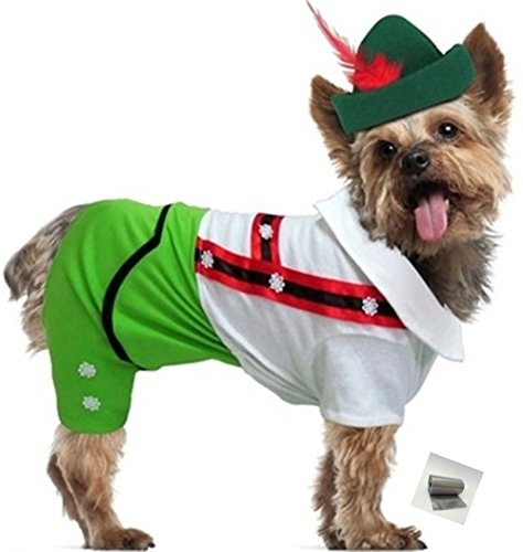 "Puppe Love Oktoberfest Lederhosen Alpine Boy Costume with Themed Charm - in Color Green – in Dog Size (L – Chest 18.5-20.5"", Neck 13.5"", Back 14"", Green) -"