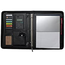 Boshiho® Job Interview Executive Padfolio Organizer Portfolio Leather Documents Holder Zipper 3-Ring Binder with Calculator Notepad and Pen Holder (A4)