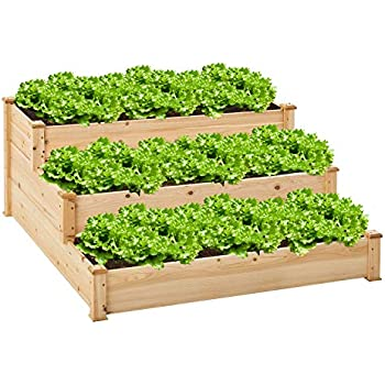 AMERLIFE Raised Garden Bed for Vegetables 3 Tier Elevated Planter Box Outdoor Patio Yard Lawn 48.8 L x 48.8 D x 22 H