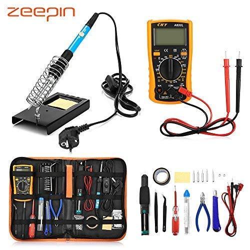 ZEEPIN Eléctrico Soldador Kit de Estaño Profesional -23 en 1 Soldadura con Maletín para Free-60w 220v Soldador Temperatura Ajustable para Soldadura de ...