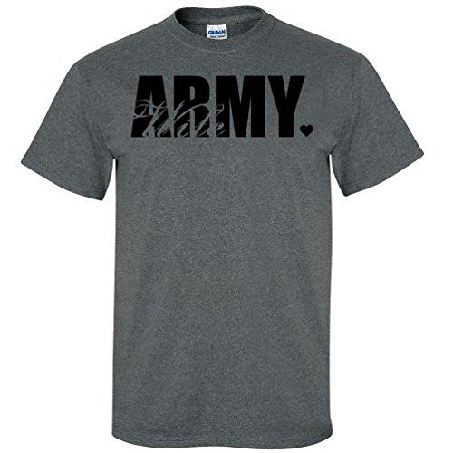 Army Wife Dark T-shirts (Army Wife Heart Short Sleeve T-Shirt in Dark Heather Gray - Medium)