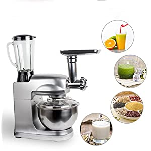 Jinon Stand Mixer,5L Multi-functional Food Mixer Multifunctional Stand Mixer Home Dough Knead Machine Meat Grinder Kitchen Mixer Stainless Steel Bowl Beaters Whisk Dough Hook-110V 1000W(silver)