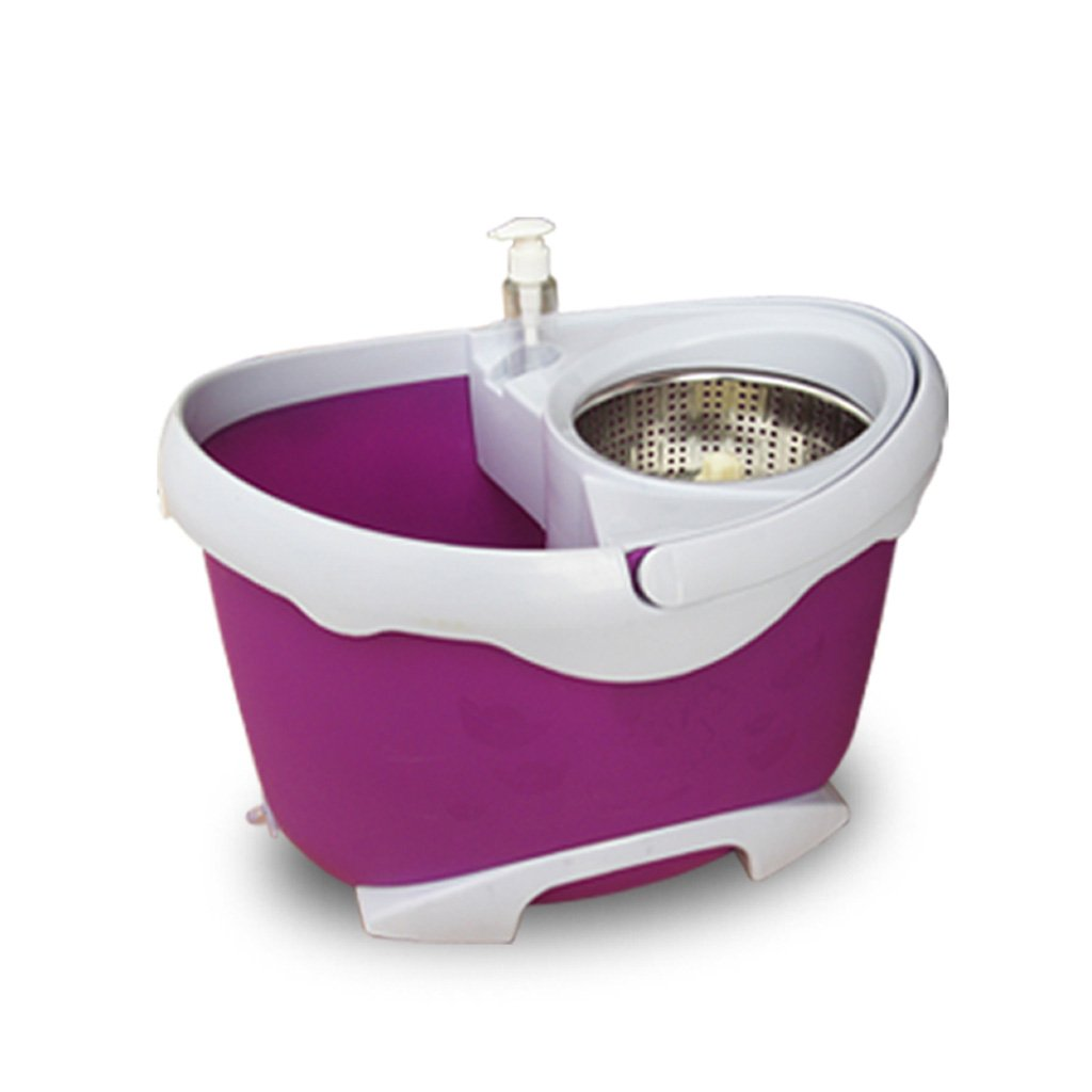 ハンズフリー洗濯、乾燥脱水、回転モップバケツ、回転モップ(2モップヘッド)、3色 (色 : Purple) B07FZ3ZPQZ Purple
