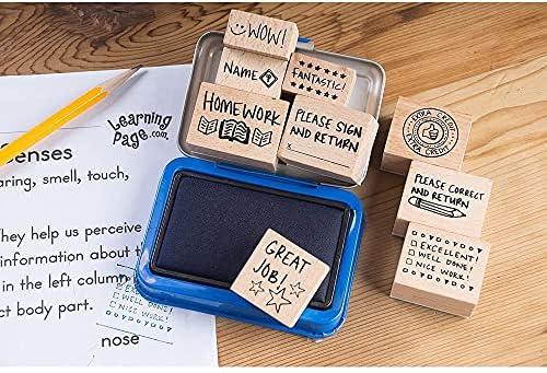 School Stamps Vintage 1995 Hero Arts Teacher/'s Wooden Rubber Stamps Good Job Happy Face Teacher Stamps Set of 9 All Night Media