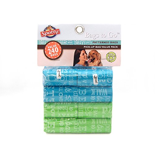 Spotty Leak-Proof, Easy Tear Off Refill Rolls, Disposable Pet Dog Poop Bags to Go for Waste Pickup, Typography Pattern…