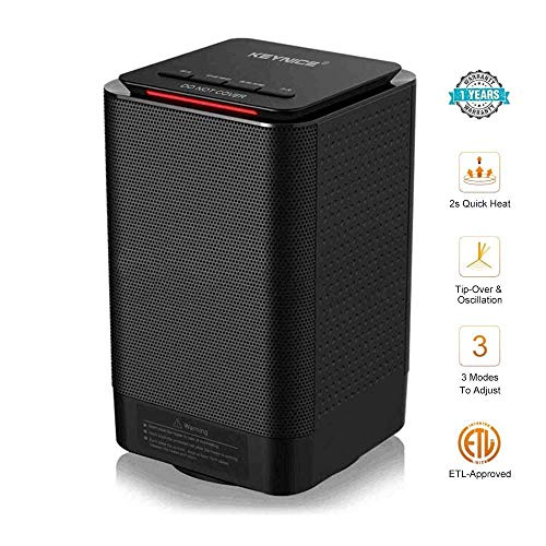 KEYNICE Electric Space Heater 950/450W 5-inch Portable Ceramic Personal Oscillating Small Room Heater Indoor RadiatorTable Mini Heater for Home Office Floor Desk - Saving Heaters Energy