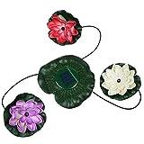 RivenAn 3 LEDs Solar Power Energy Floating LED Lotus Light Flower Lamp For Garden Pond Fountain Pool Bird bath