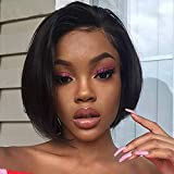 Short Straight Lace Front Wigs Human Hair for Black Women Glueless Brazilian Virgin Hair Free Pre Plucked with Baby Hair Bob Wigs Bleached Knots(Lace Front Wig,130% Density,8 Inch)