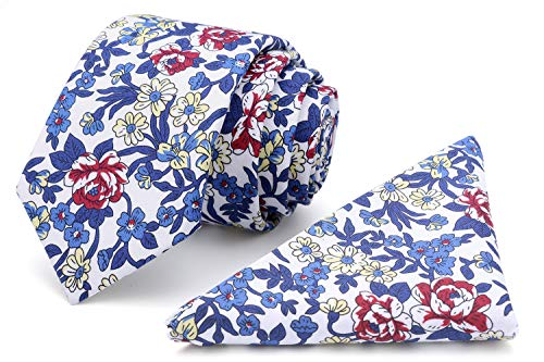 (Kingdom Secret Men's Skinny Tie Floral Print Cotton Necktie and Pocket Square Set, Great for Weddings, Groom, Groomsmen)